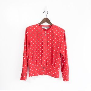 Vintage Red White Polka Dot Button Up Blouse